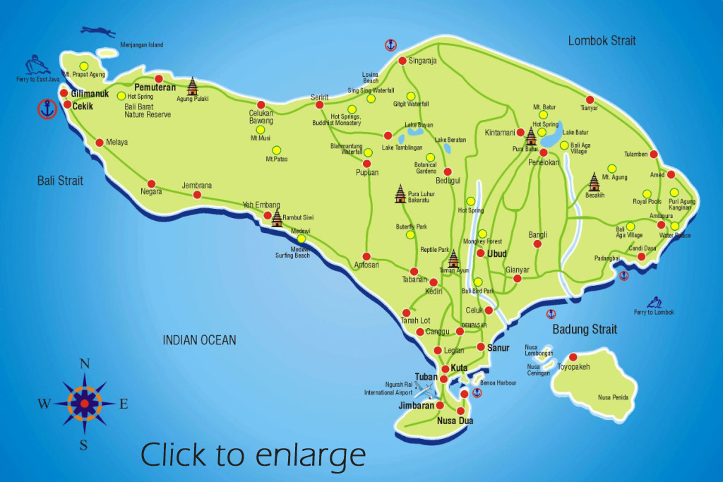Contact Bali Tour Magic after checking tour routes on this Bali destination map