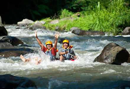 Bali river tubing near Ubud is a fun a safe water adventure to include in an Ubud tour