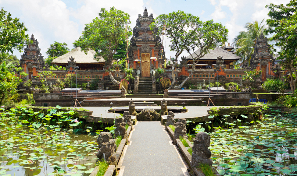 Taman Saraswati Temple near Ubud, a Balinese temple with impressive lotus ponds.