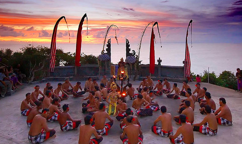 things to do in Bali - Uluwatu Fire & Kekak Dance at sunset atop the Uluwatu cliffs and Uluwatu templw